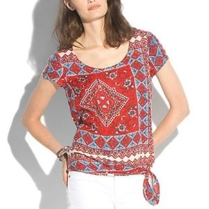 Lucky Brand Red Tie Front Scarf Print Tee